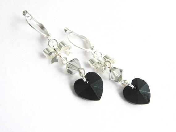 Black Heart Earrings Heart and Bow Earrings Jet Black Heart