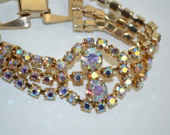 Vintage 1950s Aurora Borealis Rhinestone Bracelet Wedding 1960s Bridal Fashions