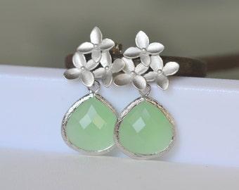 Mint and Silver Flower Post Earrings. Mint Bridesmaid Earrings. Drop Earrings. Silver Fashion Earrings. Drop Earrings. Gift.