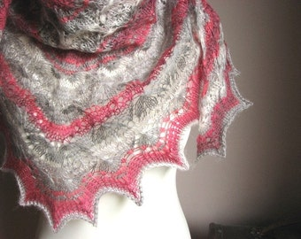 Gray and Pink Flowers - hand knitted shawl