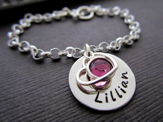 Gift For Goddaughter Birthstone Necklace Sterling By: Personalized Child Bracelet