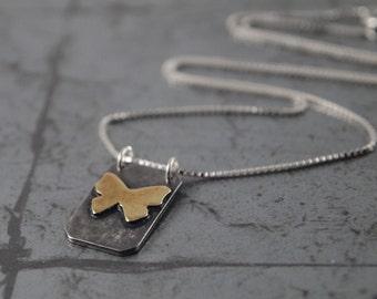 Silver Butterfly Pendant - Butterfly Necklace - Botanical Butterfly Pendant - Golden Butterfly Charm