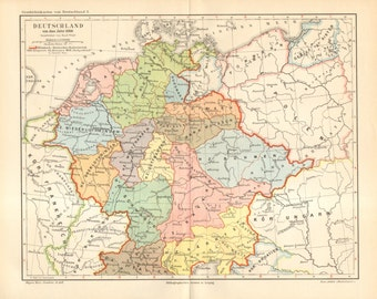 1894 Antique Map of Germany in the Year 1000