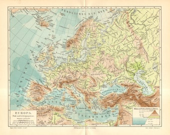 1895 Original Antique Relief Map, River and Mountain System of Europe