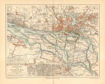 1890 Original Antique Map of Hamburg and its Surroundings