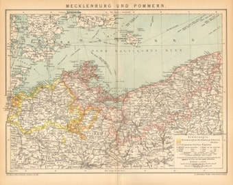1896 Original Antique Dated Map of Two Historical Regions in Northern Germany, Mecklenburg  and Pomerania