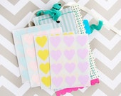48 Heart Label Stickers - Spring Pastels