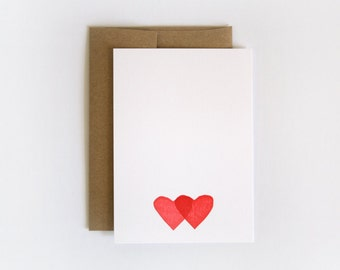 Double Hearts /  Letterpress Printed Notecard