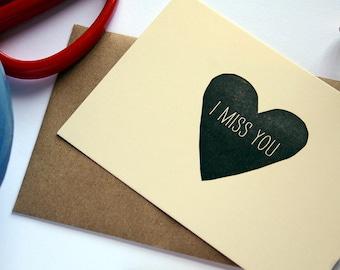 I Miss You / Letterpress Printed Notecard