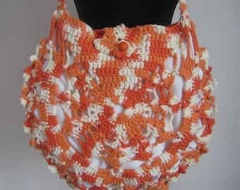 Ladies crochet summer handbag /  Orange  summer bag/ Purse
