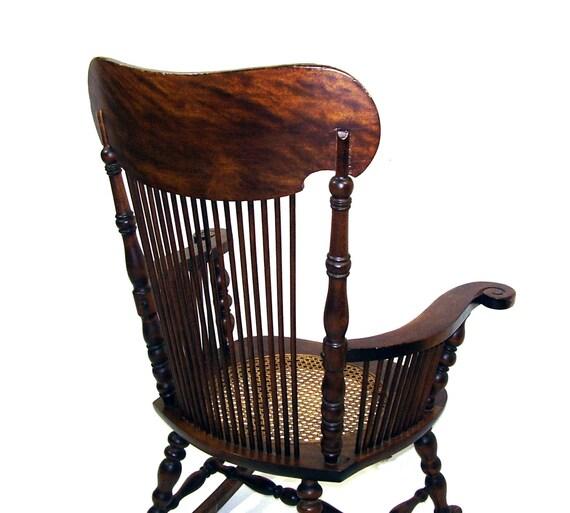 Antique Rocking Chair Tiger Oak Wooden Rocker By