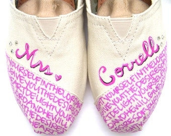 The Correll - Pink and Cream Custom Wedding TOMS