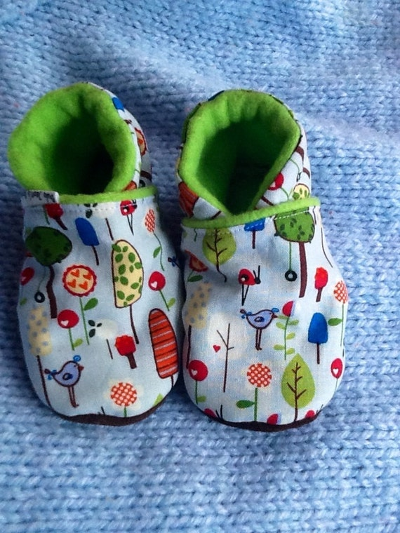 Spring Baby Shoes Blue Bird  / Toddler Soft-Soled Leather slipper Shoes, Gender Neutral Baby Shower Gift