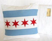 Chicago Flag Throw Pillow, Red, White & Blue | Chicago Home Decor, Gift for Him or Her
