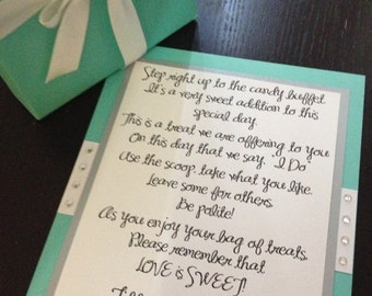 Handmade Candy Buffet Poem Sign with Rhinestones for Your Wedding or Birthday