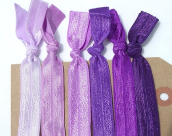 6 Elastic Hair Ties Ponytail holders Shades of PURPLE