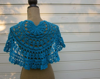 Pattern PDF for Turquoise Lace Shawlette, Shawl, Shoulder Cover with Rose Pin, Blue Sock Weight Yarn