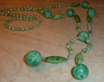 Vintage Czech Carved blown Glass Lime Green Bead Necklace Anthropologie Style