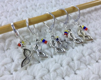Removable Stitch Marker Masks - 5 Super Hero Stitch Markers for Crochet and Knitting