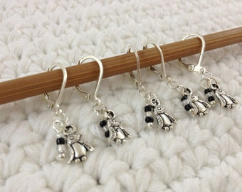 Removable Stitch Markers Penguins - 5 Black and White Penguin Stitch Markers for Crochet and Knitting