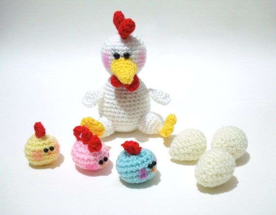 Crochet Pattern, Amigurumi Animal Pattern, Chicken and Baby Chicks Pattern, Tutorial, Instant Download