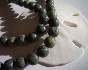 Russian Serpentine beads, 6mm, shades of green, 6mm natural gemstone beads, round, dark green gemstone beads, Serpentine beads, light green