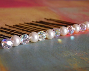 12 Swarovski 8mm Ivory Pearls and Crystals AB Hair Pins