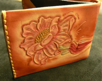 Ladies custom wallet , Tan wallet , floral wallet , ultra thin wallet , leather wallet , leather billfold