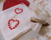 Valentine Hankie Embroidered Hearts Vines Valentine Handkerchief Bonus Red Roses Greeting Card