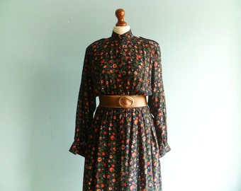 Vintage romantic dress floral / navy blue red green dress / multicolor / long batwing sleeves / high neck / buttoned / long / medium