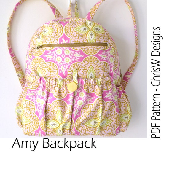 "Backpack Sewing Pattern - PDF INSTANT DOWNLOAD digital file- ""Amy"" Great girl or boy bag with lots of pockets"