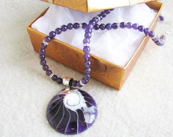 Loads of Purple Single Strand Amethyst and Sterling Accented Shell Focal Necklace
