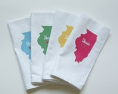 I Love Illinois, Set of Four Napkins- Set of FOUR