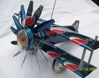 On Sale Folk Art Aluminum Can Airplane