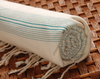 SALE %50 OFF Personalized HandWoven Eco-Friendly Turquoise Herbal Silk and Bamboo Peshtemal Towel for Bath & Beach - Monogramming