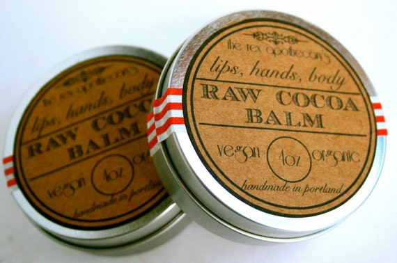 Raw Cocoa Lip Balm //  Raw, Organic, Vegan // Quenching Moisturizer for Hands, Body and Lips. Vegan // 4oz.