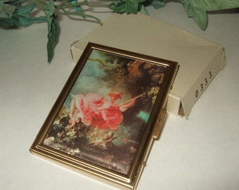 Vintage mourning compact vintage photo compact fabric covered metal photo carrier business card carrier mourning compact new old stock