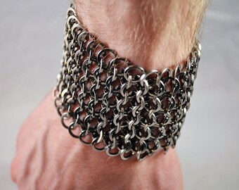 Stainless Steel Flat Wire Chainmaille Cuff