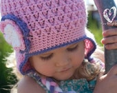Crochet Chunky Earflap Hat with Flower Pink, Purple, White
