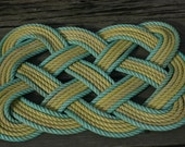 """Yellow Outlined Green Rope Rug Eco-Friendly 100% Recycled Materials Doormat 30"""" x 20"""" Square"""