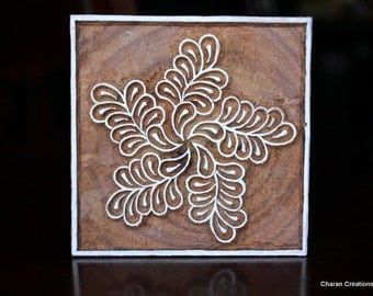 Hand Carved Indian Wood Textile Stamp Block- Floral Motif with Square Border