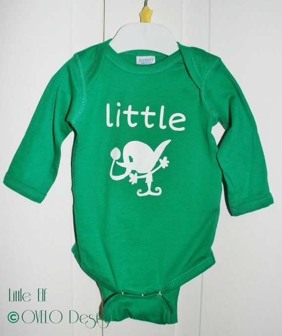 Christmas Little Elf Baby Onesie Long Sleeve in Kelly Green