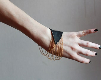 Handmade black leather gold tone chain simple minimalist geometric wrist bracelet