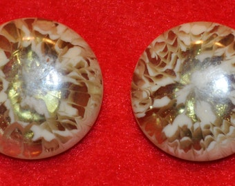 Cute Vintage Gold Mix Lucite Earrings