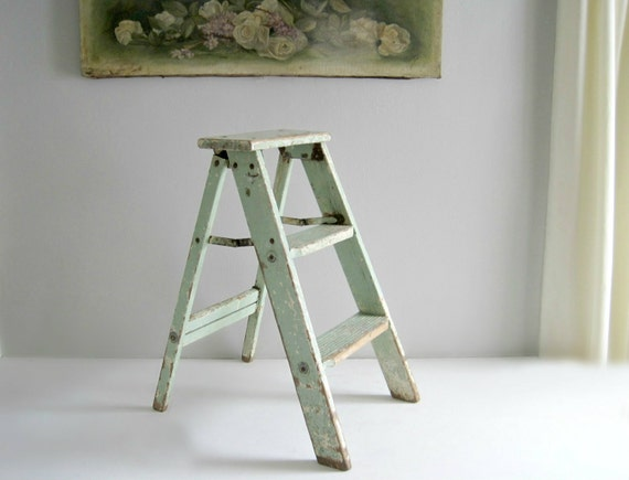 Shabby Chic Wooden Step Ladder Step Stool By