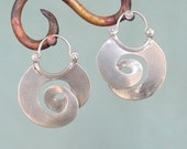 Fat Curl Earrings - Hoop Style - sterling silver
