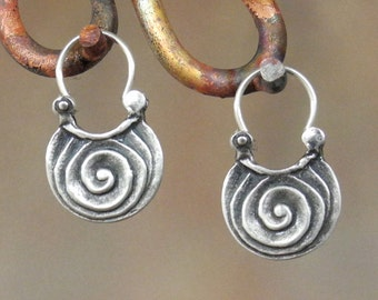 Scroll Earrings -sterling silver hoop earrings - very small