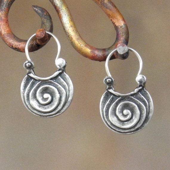Scroll Earrings -sterling silver hoop earrings - spiral