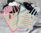 Cute Pink Bumble Bee Baby shower Invitations