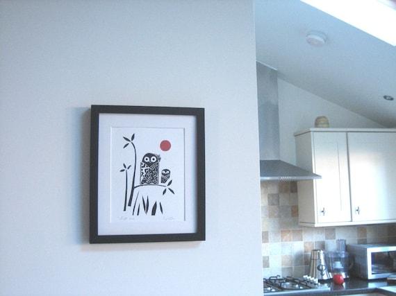 Owl Print - Original Lino Block Print,  Black and Red Moon, Modern Woodland Print, Signed, Japanese Style